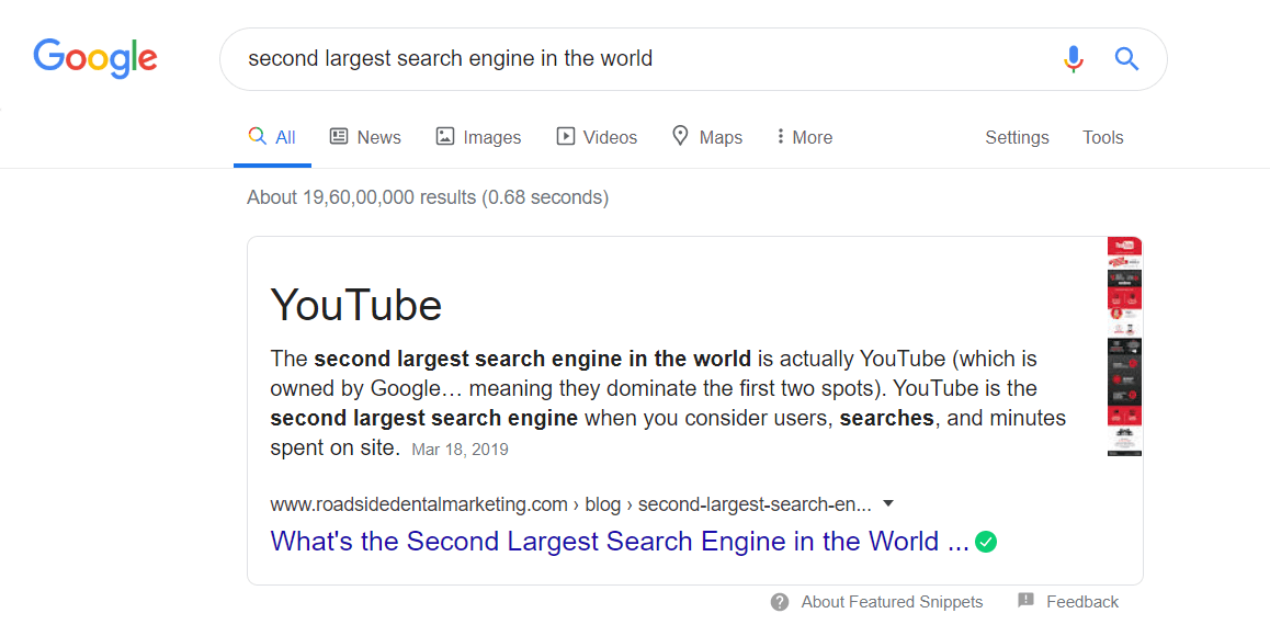 Second largest search engine